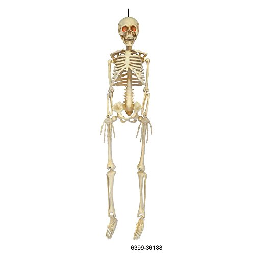 Have A Blast Displaying This Eery, Spooky Easy Set Up, Care And Store 36 in. Hanging Skeleton with LED Illumination - Create A Perfect Haloween Scene! for $<!--$29.99-->