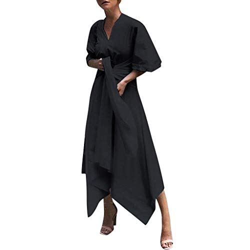 Sunmoot Clearance Sale Cocktail Prom Linen Women T-Shirt Dress, Plain Simple Split Vintage Solid V-Neck Long Dresses Black -