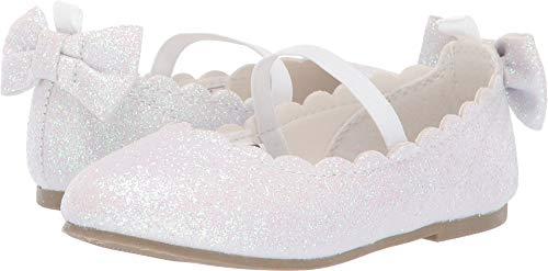 carter's Girls' Dot Glitter Ballet Flat, White, 10 M US Toddler