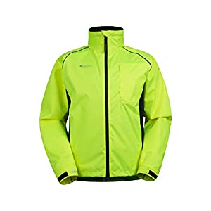Mountain Warehouse Adrenaline Mens High Visibility Jacket – Breathable Mens Coat, High Viz, Adjustable Hem, Waterproof Rain Coat – for Winter Cycling, Running & Walking