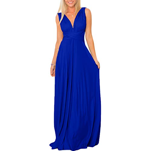 Womens Transformer Convertible Multi Way Wrap Long Prom Maxi Dress V-Neck Hight Low Wedding Bridesmaid Evening Party Grecian Dresses Boho Backless Halter Formal Cocktail Dance Gown Royal Blue Medium