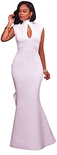 Kearia Women Formal Gown Mock Neck Sleeveless Key Hole Evening Prom Mermaid Long Dress (White Prom Dress Backless)