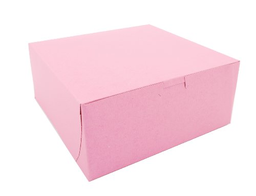 """Southern Champion Tray 0861 Pink Paperboard Non-Window Lock-Corner Bakery Box, 9"""" Length x 9"""" Width x 4"""" Height (Case of 200)"""
