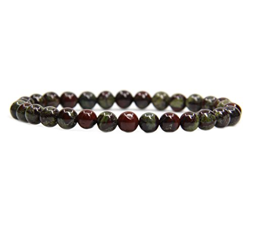 Skin Jasper Bracelet (Natural A Grade Dragon Blood Jasper Gemstone 6mm Round Beads Stretch Bracelet 7