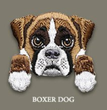 Boxer Dog Embroidered Patch - 1 1/2 x 1 1/2