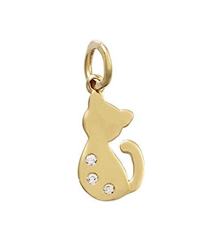 nuovi arrivi 91241 fb679 Ciondolo con gatto in oro giallo 18kt e zirconi
