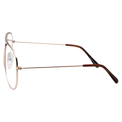 b6980257f4 grinderPUNCH New Non-Prescription Premium Aviator Clear Lens Glasses Gold