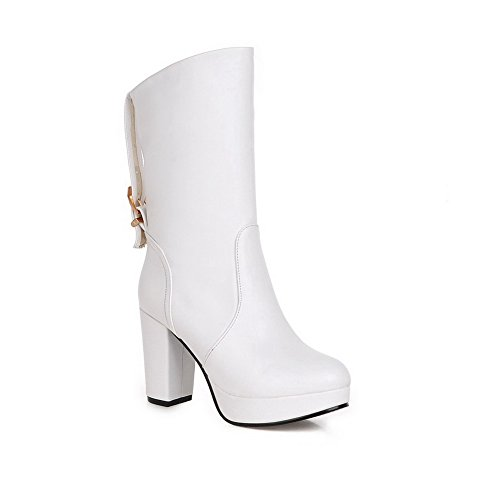 Allhqfashion Women's PU Blend Materials High-Heels Boots with Metal and Thread White BDc3i8