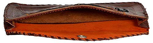 Leather-craft Handmade Vintage Women's Leather Camel Emboss Ladies Coin Purse and Pouch Wallet/clutch/mobile holder Handpurse Rakhi Gift Sister Small (Brown,ME51).