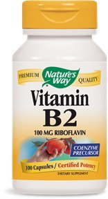Nature's Way Vitamin B2 100 mg Riboflavin, 100 Capsules (Pack of 2) For Sale