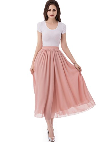 emondora Women's Chiffon Long A-Line Retro Skirts Pleated Beach Maxi Skirt Blush Size S