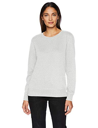 Fleece Crewneck Pullover - Amazon Essentials Women's French Terry Fleece Crewneck Sweatshirt Sweater, -light grey heather, X-Large
