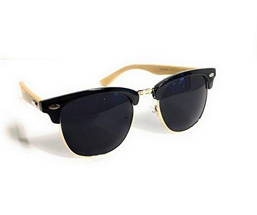 """DCentral Half Metal Black & & Gold Frame, Smokey Gray Lens, Bamboo Earpiece, Unisex Designer Sunglasses, UV400, 2"""" Lens Width, Trending - Now Trending Sunglasses"""
