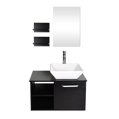. 28 Inches Bathroom Vanity  Modern Lavatory Wall Mounted Cabinet  with  Mirror  Wood Black Fixture  Ceramic Porcelain Square Sink Top with Chrome