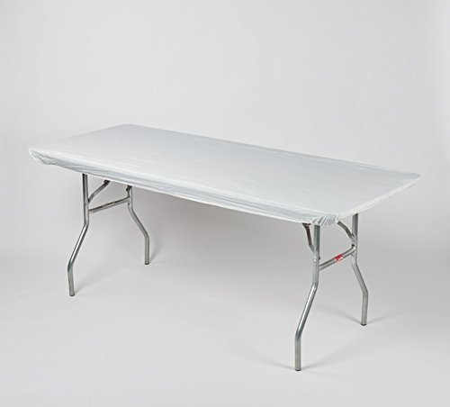 Kwik-Covers 6' Rectangle Plastic Table Covers 30'' x 72'', Bundle of 5 (White) by Kwik-Covers