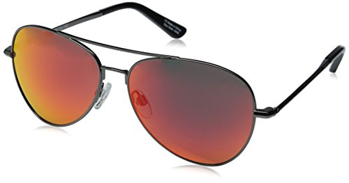 Spy Optics Whistler Aviator Sunglasses, Gunmetal/Happy Gray/Green/Red Spectra, 1.5 (Spy Optic Metal)