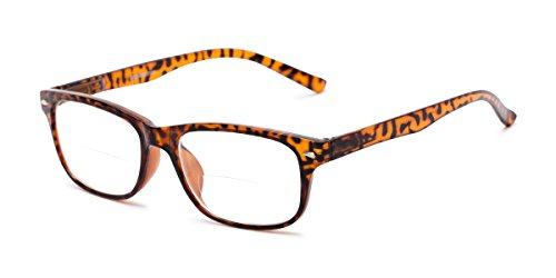 Readers.com Bifocal Reading Glasses: The Williamsburg Bifocal for Men and Women - Stylish Retro Square Bifocal Readers - Brown Tortoise +1.00 -