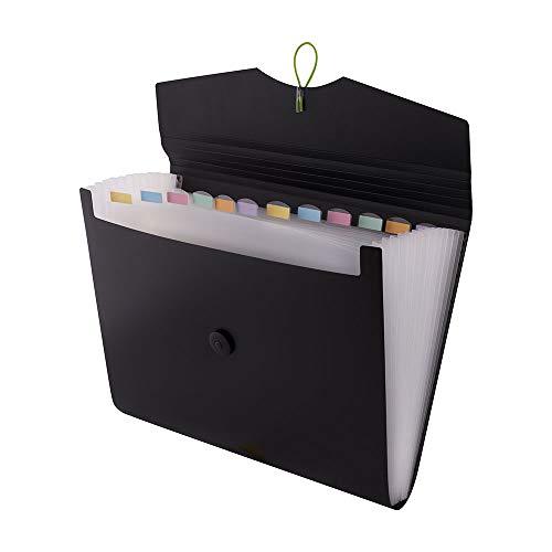 D.RECT 5580 - Trieur Extensible 12 Poches A4   Extensible Classeur Documents   Accordéon Classeur Pochettes Porte-documents, Noir