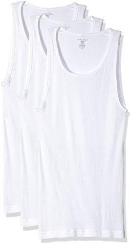 Nautica Men's Cotton a Shirt Tank-Multi Pack, White/White/White, M