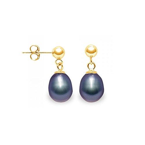Boucles d'Oreilles Perle de Culture Blanche et or jaune 750/1000Boucles d'Oreilles Perles de Culture Noires et or jaune 750/1000 -Blue Pearls-BPS K337 W NOIR