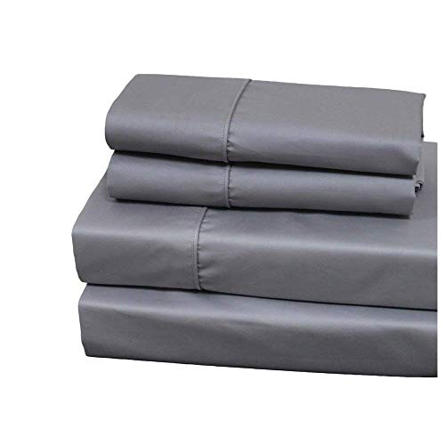 Royal Hotel Split-King: Adjustable King Size Gray Cotton-Blend Wrinkle-Free Sheets 650-Thread-Count Solid Sheet Set