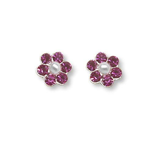 Flower Stud Earrings Pink Crystal and Imitation Pearl Center 5mm Sterling Silver ()