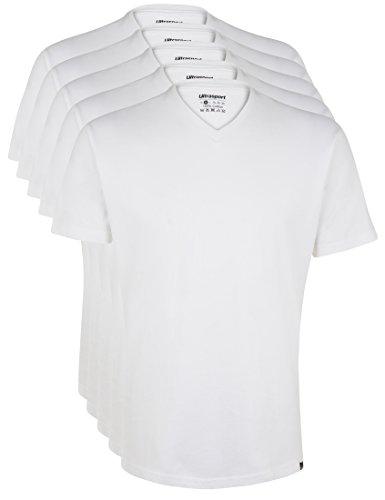 Ultrasport Herren Sport Freizeit T-Shirt mit V-Ausschnitt 5er Set, Weiß, XL, 1318-100