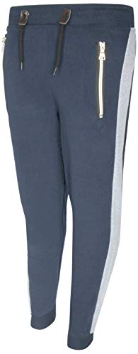 (Galaxy by Harvic Boys Active Fleece Jogger Pant with Panel Detail, Black w/Ca. (X-Large / 18-20, Navy/Heather Grey Panel)')