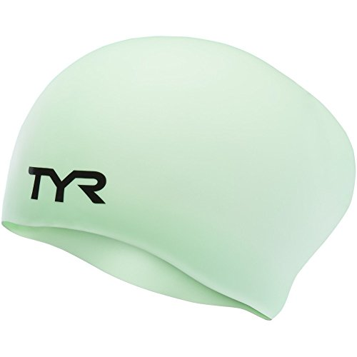 (TYR Long Hair Wrinkle-Free Silicone Swim Cap, Mint)