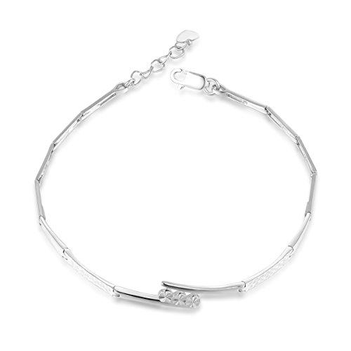 Eternity en or blanc 14carats Design segment Bracelet (16,5cm) Saint-Valentin cadeau pour femmes filles