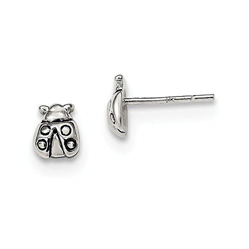 925 Sterling Silver Polished Enameled Ladybug Post Earrings