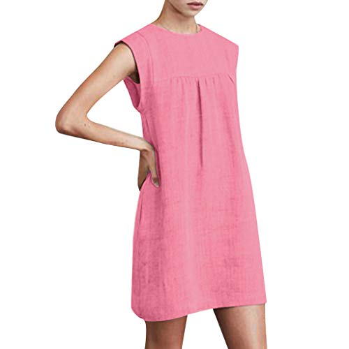 FRana Dresses for Women Summer Sleeveless Cotton and Linen Casual Tops Solid Dress Beach Dresses Straight Pink