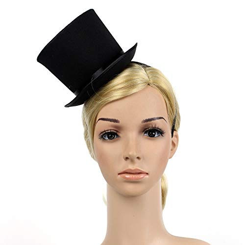 Mini Black Top Hat, Women 1920s Gatsby Costume
