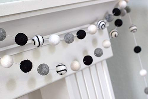 Swirl Black, Gray, White Felt Ball Garland- 1