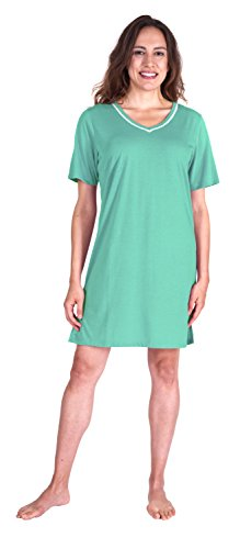 Cool-jams Moisture Wicking Sleepwear for Women - Kristi V-Neck Nightshirt - With Lace Detail and Side Slits (Large (12-14), Aqua)