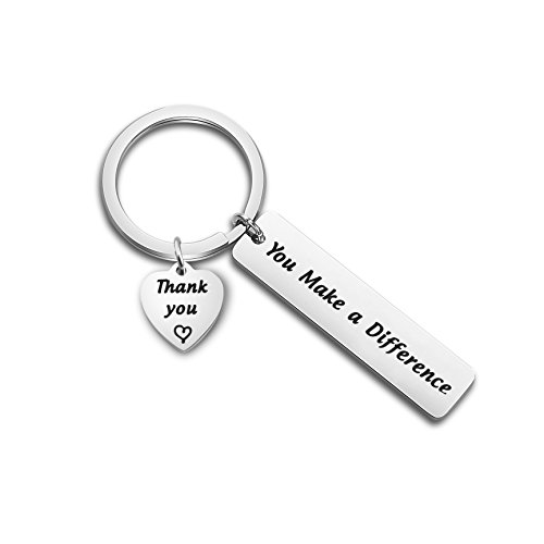TGBJE Thank You Gift You Make a Difference Keychain Stainless Steel Keyring Gift for Volunteer Appreciation,Coach Mentor Gift,Employee Gift (Keychain) -