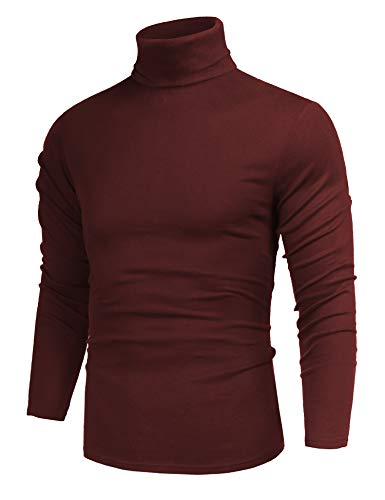 Men's Basic Designed Solid Slim Fit Tops Turtleneck Pullover Long Sleeve Sweater Red L