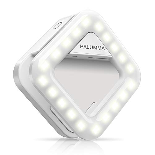 Palumma LED Selfie Light, Clip On Portable Selfie Ring with 9-Level Adjustable Brightness 32 LED Bulbs, Continue to Function As a Handsfree Bag Light, Build-in Rechargeable Battery
