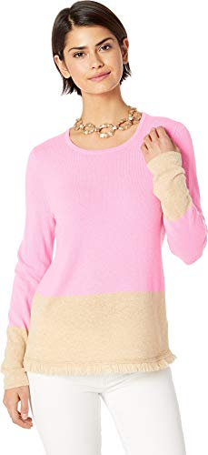 Lilly Pulitzer Women's Rica Cashmere Sweater Pink Tropics Heathered Sandbar Color Block ()