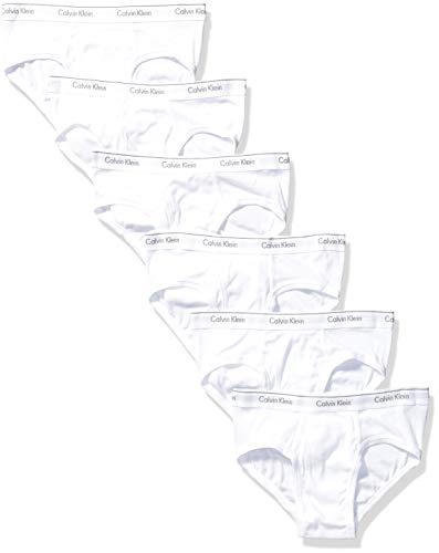 Calvin Klein Men's Cotton Classics Multipack Low Rise Hip Briefs, White (6 Pack), S