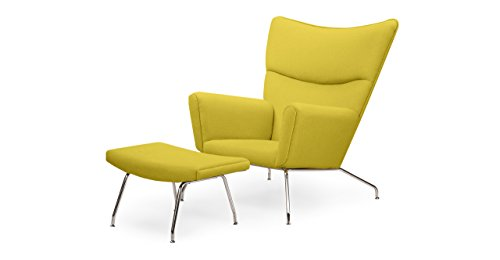 Kardiel Hans J Wegner Style Wing Chair & Ottoman, Dijon Boucle Danish Wool (Chair Wing Wegner Style)