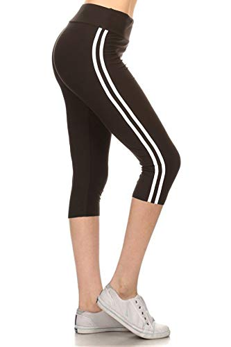 LIICPX128-BLACK2 Lined Yoga Capri Solid Leggings, Plus Size