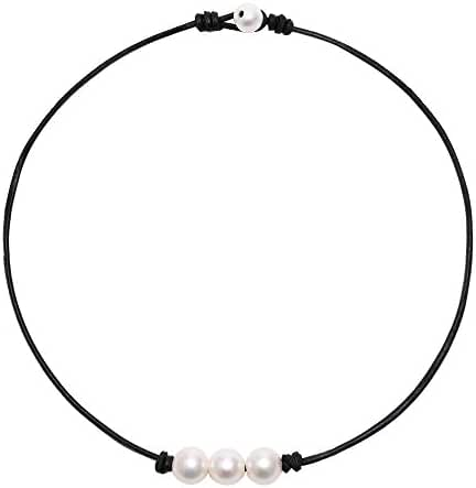 White Pearl Choker Necklace with Three Beads on Genuine Leather Jewelry for Women