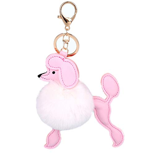 Cute Fluffy Poodle Puppy Faux Fur Pom Pom Key Chains Bag Accessory Ornament Keyring Charms Pendant(White) -