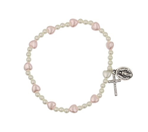Crucifix Heart Bracelet - Pink and White Stretch Rosary Bracelet with Heart Shaped Beads with Crucifix and Miraculous Medal
