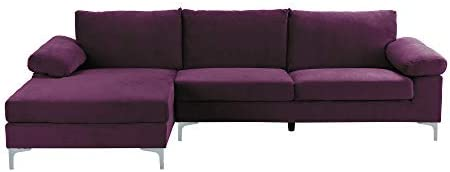 Casa Andrea Milano llc Modern Large Velvet Fabric Sectional Sofa