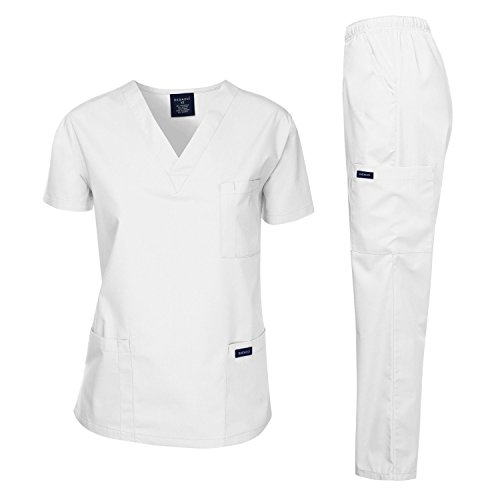 Dagacci Medical Uniform Woman and Man Scrub Set Unisex Medical Scrub Top and Pant, White, L