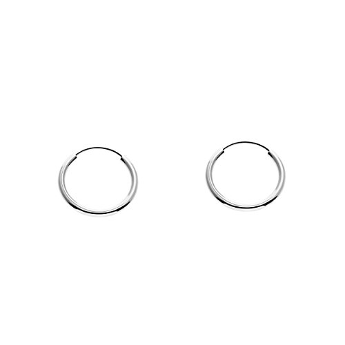 - Small 14k Gold Round Flexible Thin Continuous Endless Hoop Earrings, Unisex (10mm, white-gold)