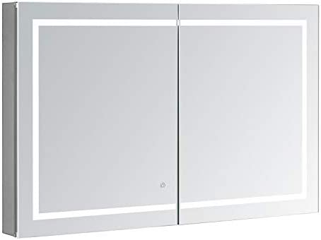 AQUADOM Royale Plus, 48in x 36in x 5in, Large, LED Medicine Cabinet, Defogger, Touch Screen Button, Dimmer, Electrical Outlet