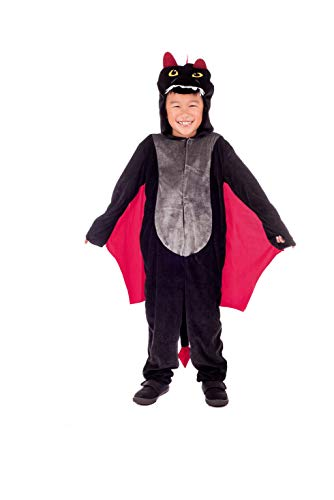 Kids Dragon Costume Childrens Black Hooded Onesie with Wings Outfit - -